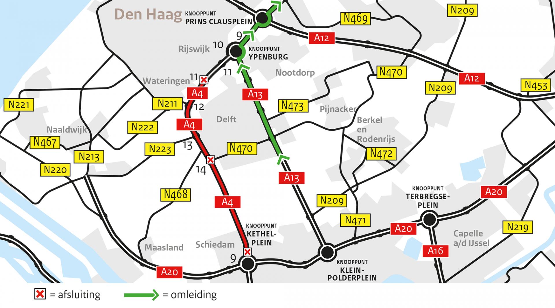 Wegwerkzaamheden aan de A4 van 21-24 juni a.s.